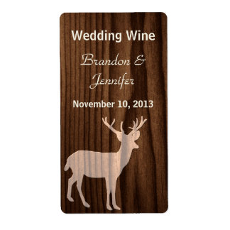Dark Wood Deer Wild Life Mini Wine Labels