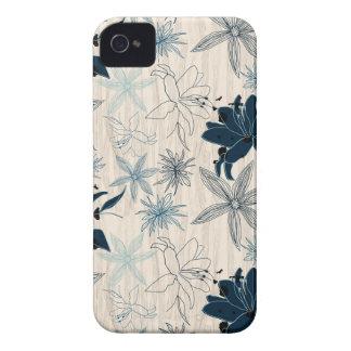 dark wood grain flowers iPhone 4 Case-Mate cases