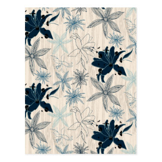 dark wood grain flowers postcard
