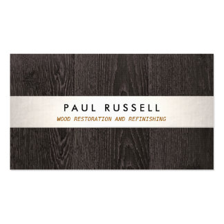 Dark Wood Grain Rustic Carpentry and Flooring Business Card