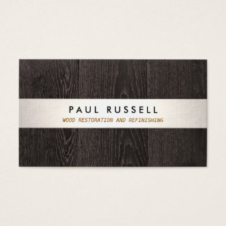 Dark Wood Grain Rustic Carpentry and Flooring Business Card