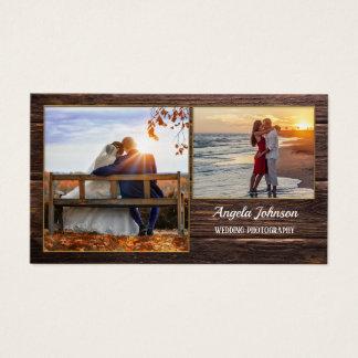 Dark Wood Photographer Template Business Card
