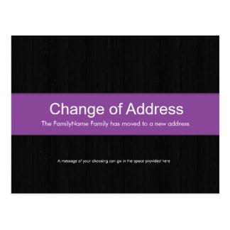 Dark Wood & Purple Change of Address Postcard