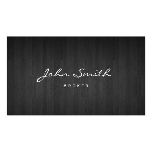 Dark Wood Real Estate Broker Business Card