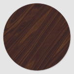 Dark Wood Texture Round Sticker