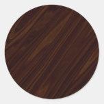 Dark Wood Texture Round Sticker