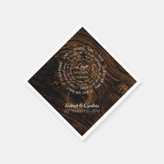 Dark Wood Wedding Scripture Custom Paper Napkins