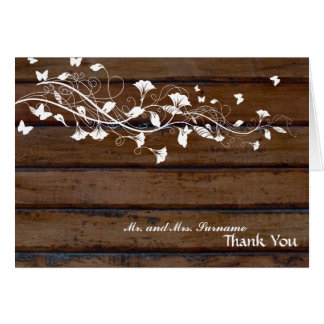 Dark Wood White Floral Thank You Card
