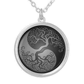 Dark Yin Yang Tree Silver Plated Necklace