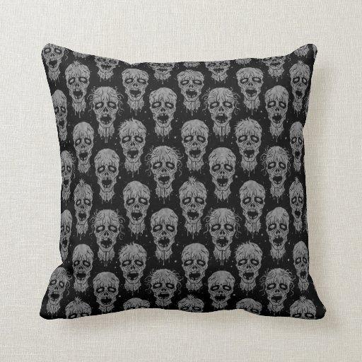 Dark Zombie Apocalypse Pattern Throw Pillows