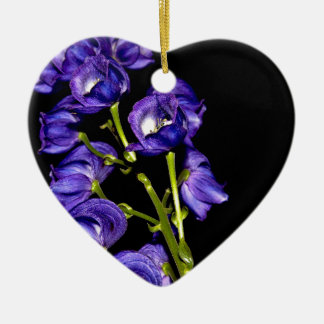 Darken purple blooms ceramic heart ornament