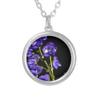 Darken purple blooms silver plated necklace