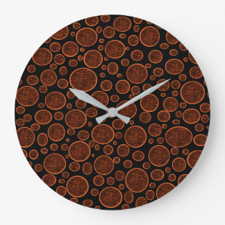 Darkened Orange Bubbles Large Clock