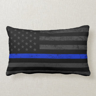 Darkened Police Style American Flag Lumbar Pillow