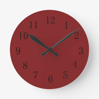 Darker Chocolatey Falu Red Kitchen Wall Clock