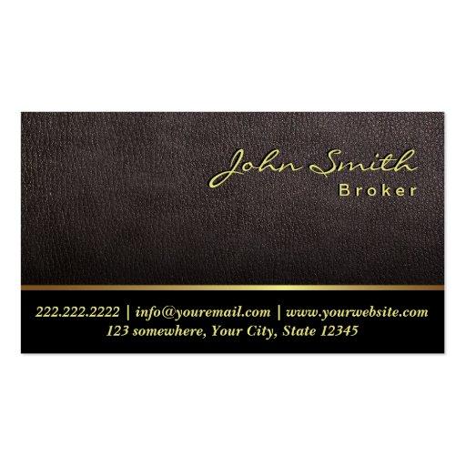 Darker Leather Real Estate Broker Business Card