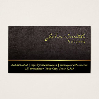 Darker Leather Texture Actuary Business Card