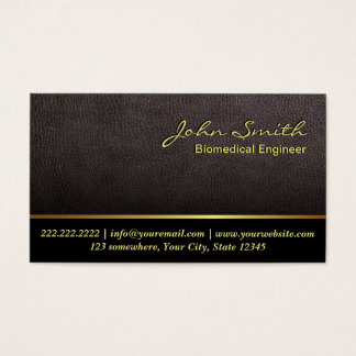 Darker Leather Texture Biomedical Business Card
