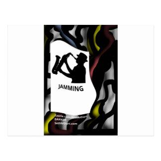 Darker Saxophone Jamming Postcard