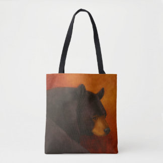 Darkly Dreaming Black Bear Canvas Tote