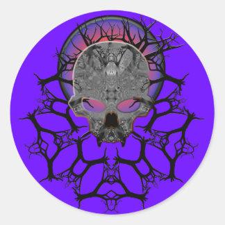 darkmetals skull series classic round sticker
