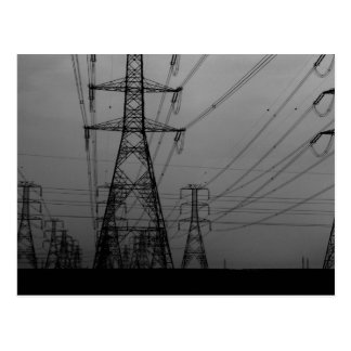 Darkness - B&W power lines Postcard