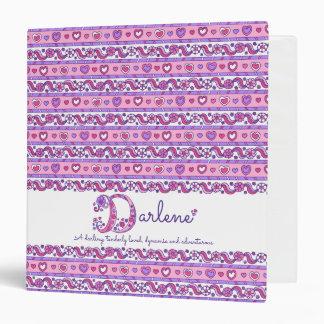 Darlene letter F hearts flowers doodle name 3 Ring Binder