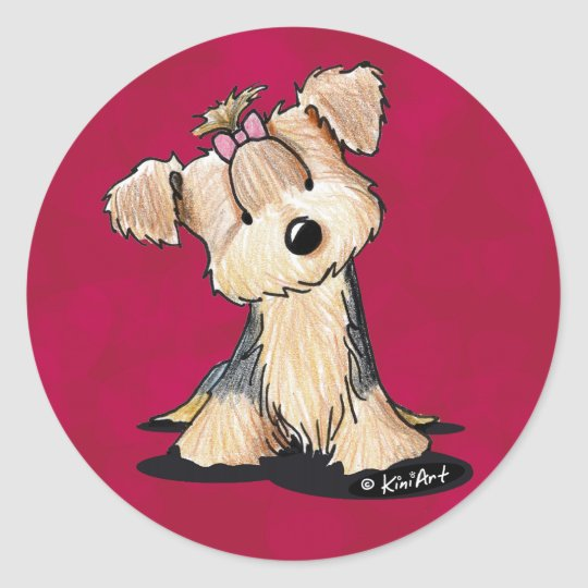 Darlin' May Yorkie Terrier Classic Round Sticker