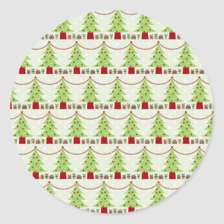 Darling Christmas Trees With Garland Classic Round Sticker