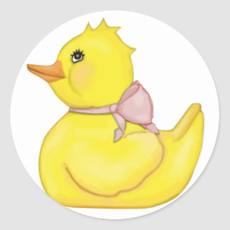 Darling Ducky with Pink Ribbon Classic Round Sticker