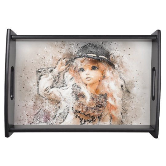 Darling Girl With Hat Serving Tray
