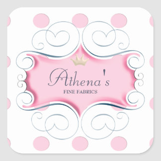 Darling Pink Frame and Pink Polka Dots Square Sticker