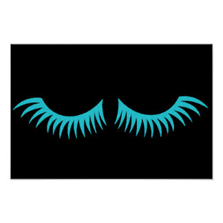 Darling Teal Blue Eyelashes Party Poster