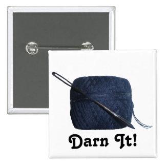 """Darn It"" Darning Needle & Thread Pinback Buttons"