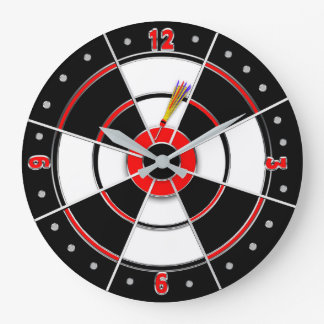 Dart Board Clock - Red/Black - Round