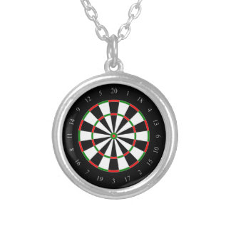 Dart Board fun, novelty necklace, gift Silver Plated Necklace