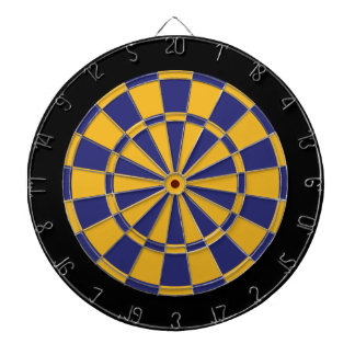 Dart Board: Gold, Navy Blue, And Black Dartboard