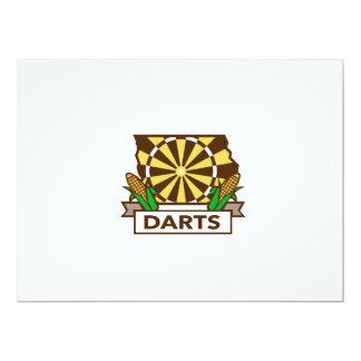 Dart Board Iowa State Map Corn Retro Card