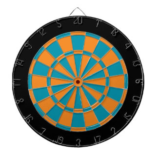 Dart Board: Orange, Teal, And Black Dartboard
