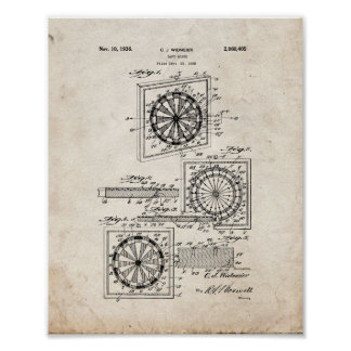 Dart Board Patent - Old Look Poster
