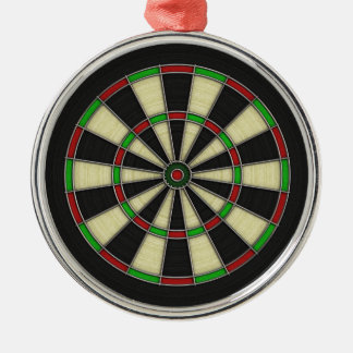 Dart Board Pattern. Stylish, Perfect Hobbies Gift. Silver-Colored Round Ornament