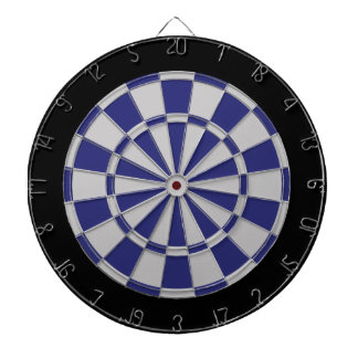 Dart Board: Silver Gray, Navy, And Black Dartboard