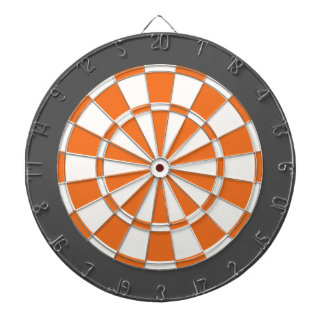 Dart Board: White, Orange, And Charcoal Gray Dart Board