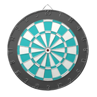 Dart Board: White, Turquoise, And Charcoal Gray Dart Boards