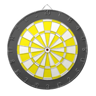 Dart Board: White, Yellow, And Charcoal Gray Dartboard
