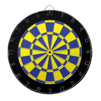 Dart Board: Yellow, Blue, And Black Dart Board