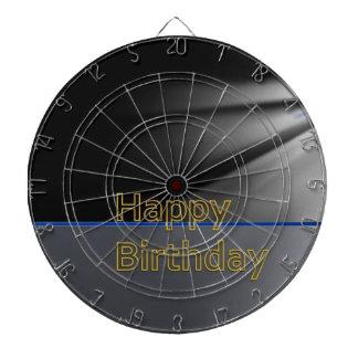 DART Chakra 101- Happy Birthday in Black n Gold Dartboard With Darts