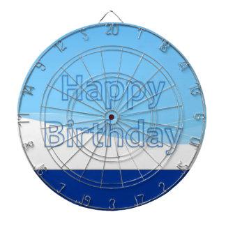 DART Chakra 101- Happy Birthday in Blue n White Dartboard