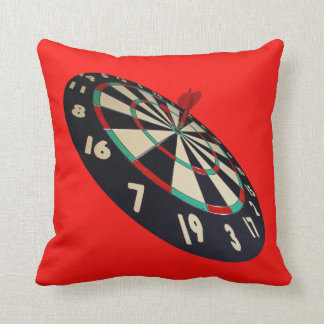 Dart On Target Bullseye, Red Throw Cushion