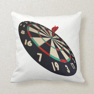 Dart On Target Bullseye, White Throw Cushion. Throw Pillow